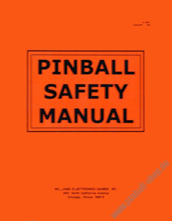 Safety Manual | Ersatzteile Zubehor Pinball Safety Manual Anleitungen